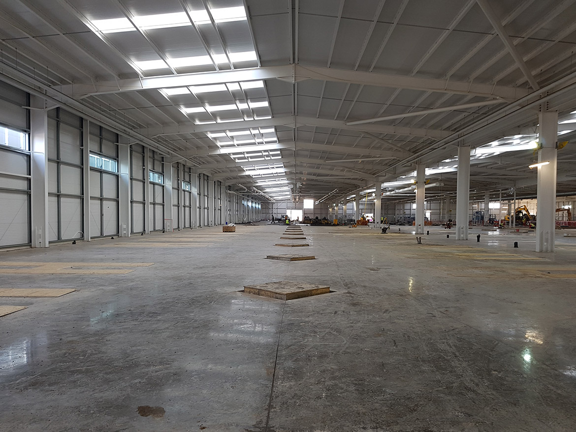 hand laid concrete floor in a warehouse