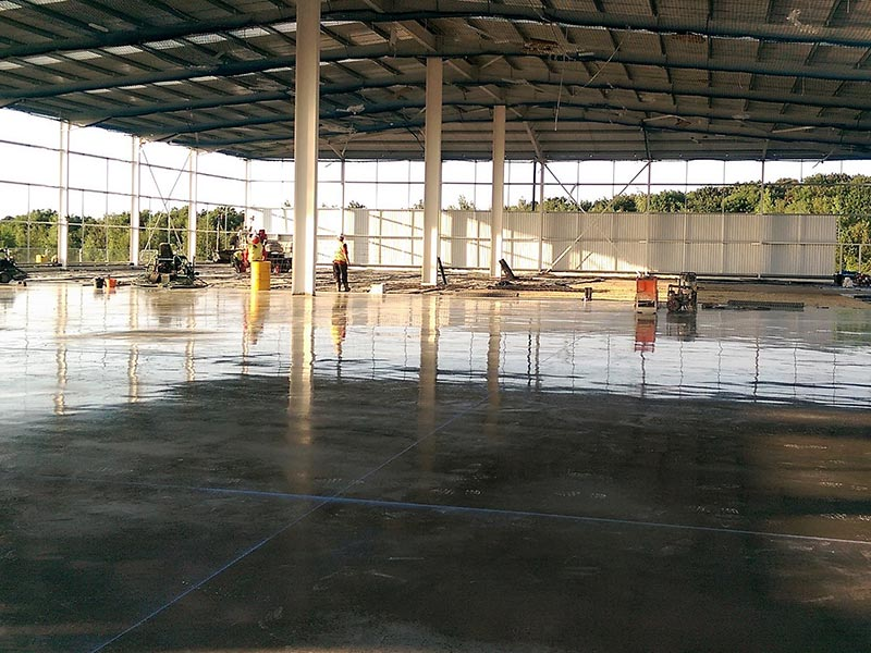 industrial concrete floor being laid